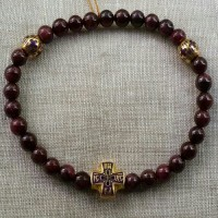 """Православный браслет-четки """"Гранат"""" с горячей эмалью"""