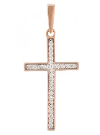 Крестик нательный, красное золото 585°, 28 бриллиантов