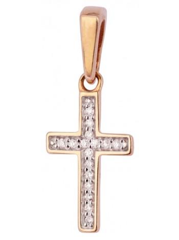 Крестик нательный, красное золото 585°, 16 бриллиантов