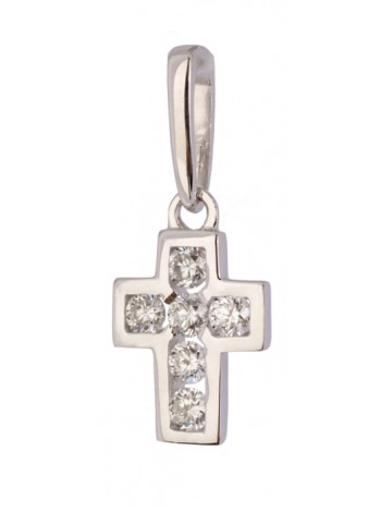 Крестик нательный, белое золото 585°, 6 бриллиантов