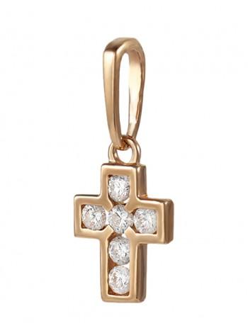 Крестик нательный, красное золото 585°, 6 бриллиантов