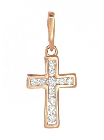 Крестик нательный, красное золото 585°, 11 бриллиантов