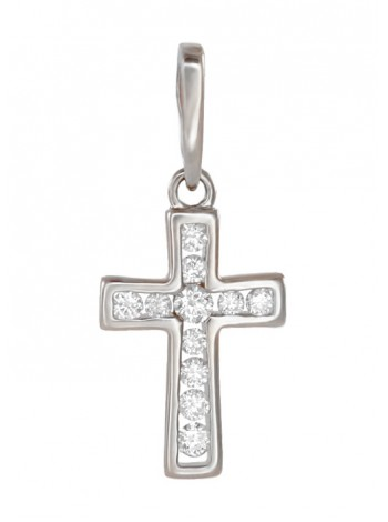 Крестик нательный, белое золото 585°, 11 бриллиантов