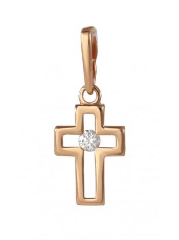 Крестик нательный, красное золото 585°, 1 бриллиант
