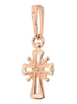 Крестик крестильный, красное золото 585°, 1 бриллиант