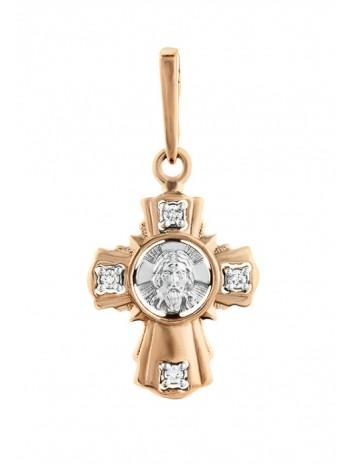 """Крестик нательный """"Спас Нерукотворный"""", комбинированное золото 585°, 4 бриллианта"""