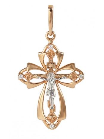 Крестик нательный, красное и белое золото 585°, 4 бриллианта
