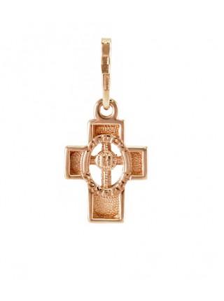 """Крестик """"Детский"""", красное золото 585°, 1 бриллиант"""