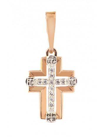 Крестик нательный, комбинированное золото 585°, 11 бриллиантов
