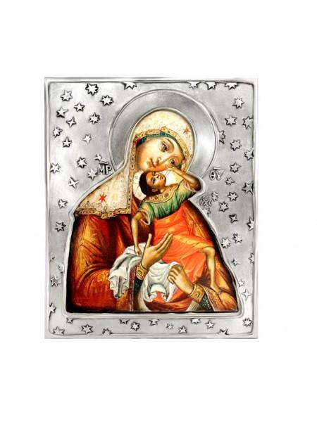 """Икона Божией Матери """"Взыграние младенца"""", посеребрённый оклад"""