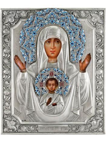 """Икона Божией Матери """"Знамение"""", посеребрённый оклад с эмалью"""