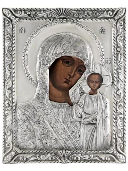"""Икона Божией Матери """"Казанская"""" 18 век, посеребрённый оклад"""