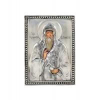 Икона святой Варлаам Хутынский, посеребрённый оклад