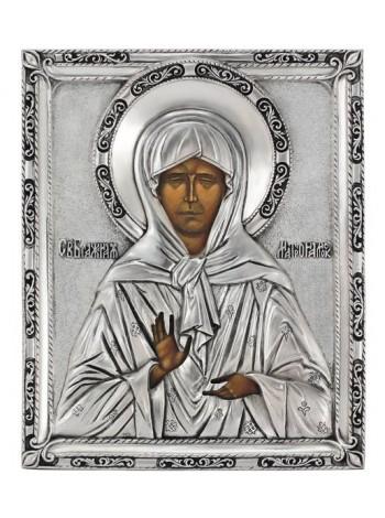 Икона Святая блаженная Матрона, посеребрённый оклад