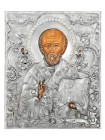 Икона Святой Николай Чудотворец, посеребрённый оклад с жемчугом