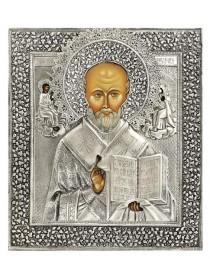 Икона Святой Николай Чудотворец, посеребрённый оклад