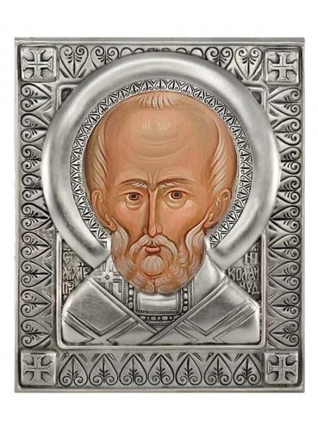 Икона Святой Николай Чудотворец, посеребрённый оклад (малая)