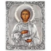 Икона Святой Пантелеимон, посеребрённый оклад