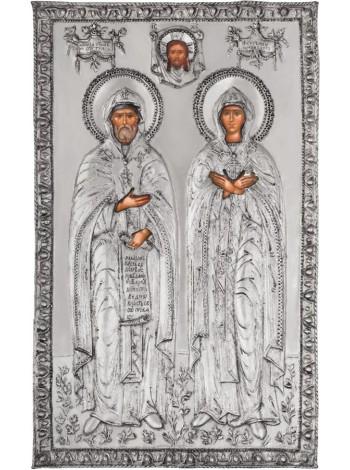 Икона Святые благоверные князья Петр и Феврония Муромские, посеребрённый оклад