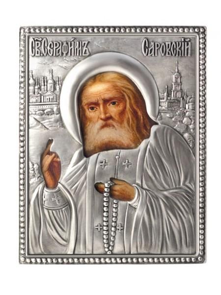 Икона Святой Серафим Саровский, посеребрённый оклад