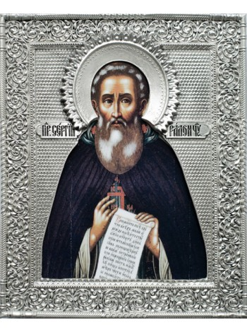 Икона Святой Сергий Радонежский, посеребрённый оклад