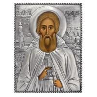 Икона Святой Сергий Радонежский, 21 век, посеребрённый оклад