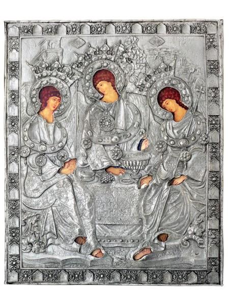 Икона Святая Троица, посеребрённый оклад
