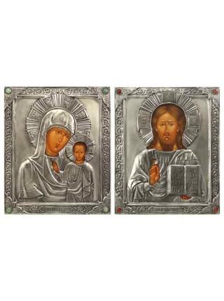 Икона Божией Матери (венчальная пара), посеребрённый оклад с камнями