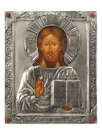 Икона Господа Иисуса Христа (венчальная пара), посеребрённый оклад с камнями