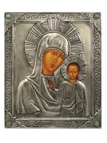 Икона Божией Матери Казанская (венчальная пара), посеребрённый оклад с камнями