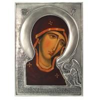 Икона Божией Матери Заступница (Агиосоритисса), посеребрённый оклад