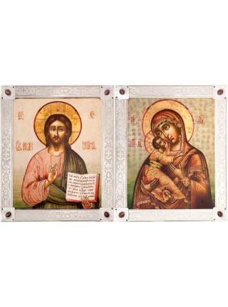 Икона Божией Матери «Владимирская», посеребрённая рамка-киот с камнями. Подходит для венчальной пары