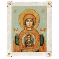 Икона Божией Матери «Знамение», 17 век, посеребрённая рама с камнями
