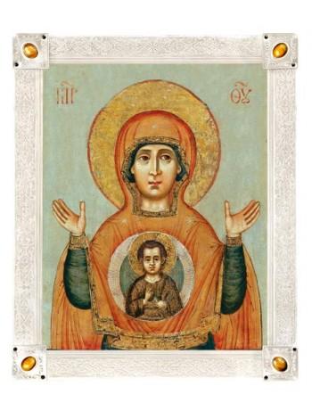Икона Божией Матери «Знамение», посеребрённая рама с камнями