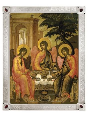 Икона. Святая Троица Ветхозаветная (Симон Ушаков, 17 век), посеребрённая рама с камнями