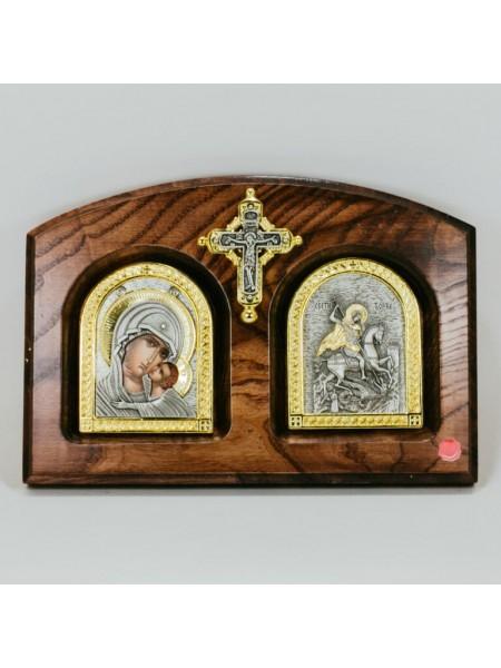 Икона Двойная Богоматерь Умиление - Георгий Победоносец