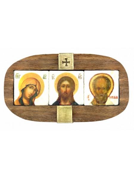 """Автомобильная икона """"Спаситель, Богородица, святой Николай"""""""