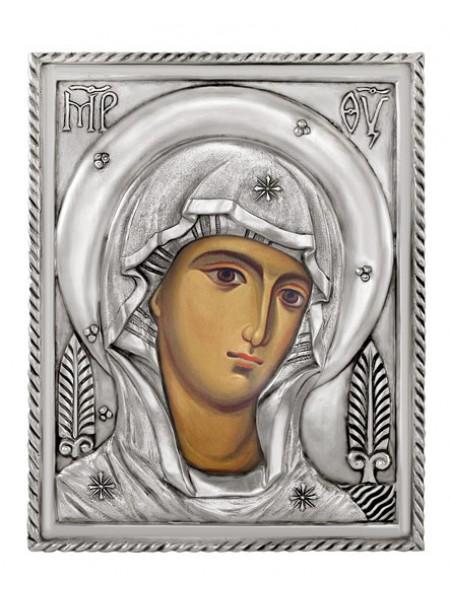 Икона Богородица, посеребрённый оклад. Подходит для венчальной пары