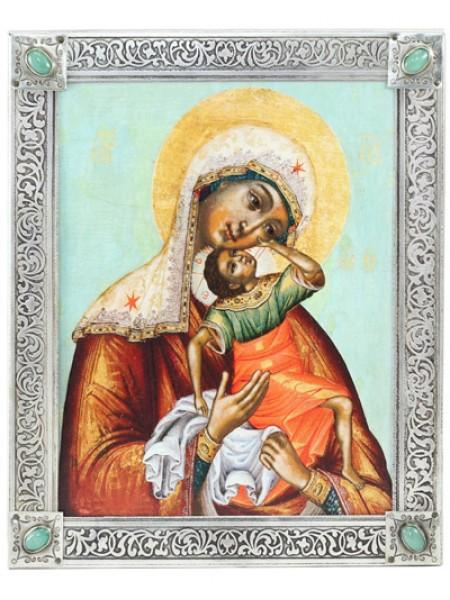 "Икона Божией Матери ""Взыграние Младенца"", посеребрённая рамка-киот с камнями"