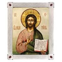 Икона Спас Вседержитель, посеребрённая рамка-киот с камнями