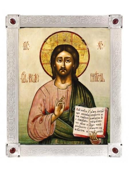 Икона Спас Вседержитель, посеребрённая рамка-киот с камнями. Подходит для венчальной пары