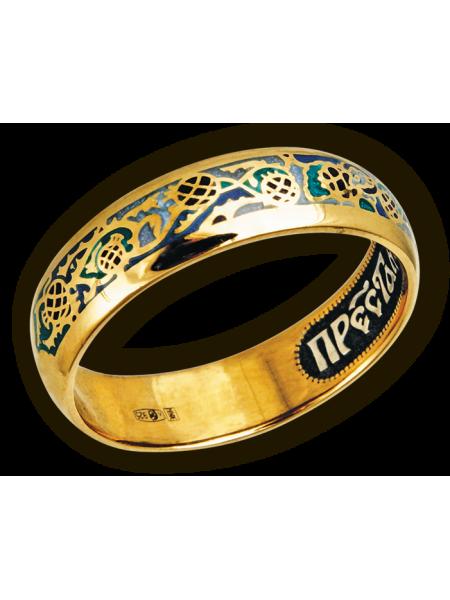 Кольцо. Орнамент из ветвей гранатового дерева. Молитва Пречистой Божией Матери.