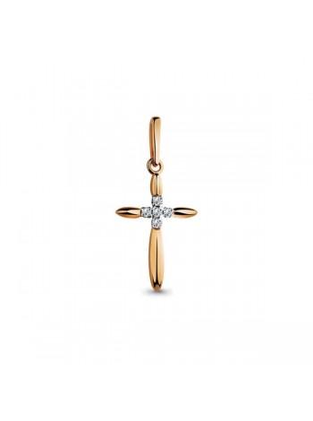 Крестик нательный, красное золото 585°, 5 бриллиантов