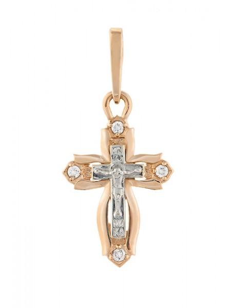 Крестик крестильный, комбинированное золото 585°, 4 бриллианта