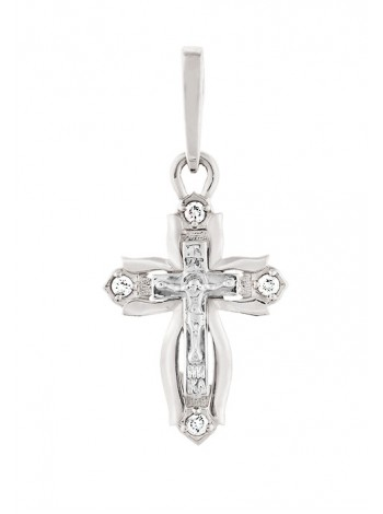 Крестик нательный, белое золото 585°, 4 бриллианта