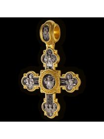 """Крест нательный """"Господь Вседержитель. Святая Троица, Василий Великий, Иоанн Златоуст и Григорий Богослов. Николай Угодник."""""""