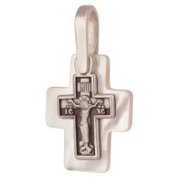Крест малый с перламутровой подвеской