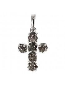 Нательный Крест, белое золото 585°, алмазы