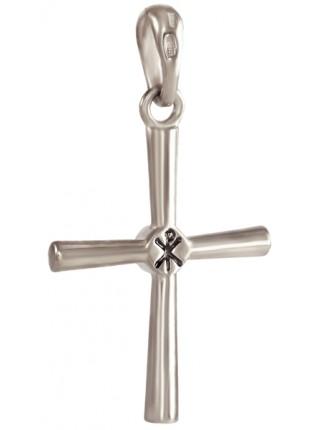 Крест нательный, серебро 925°, фианит