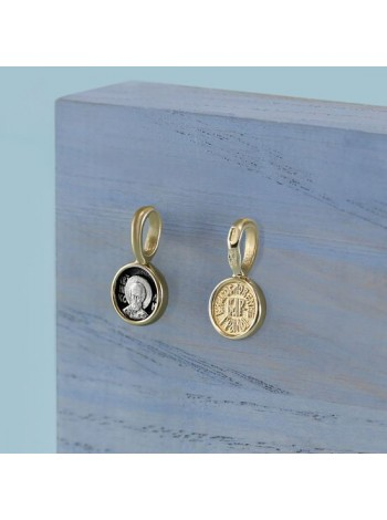 Образок нательный Святителя Николая «Благословение города Бари» из золота